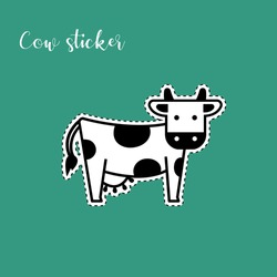 Vector image of a cow. Funny sticker of a cow.