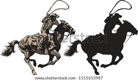 vector image of a cowboy in a