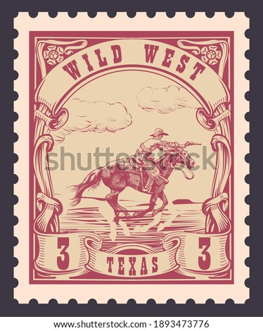 vector image of a cowboy on a horse in the form of a postage stamp printing on paper and t-shirt Foto stock ©
