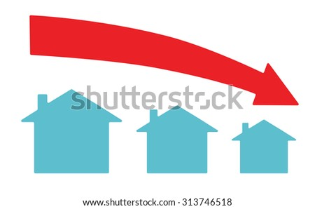 Vector image of a downward arrow and houses ストックフォト ©
