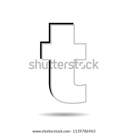 Vector image of a flat icon with the letter t of the black color. Button with the letter t.