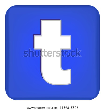Vector image of a flat icon with the letter t of the blue color. Button with the letter t.