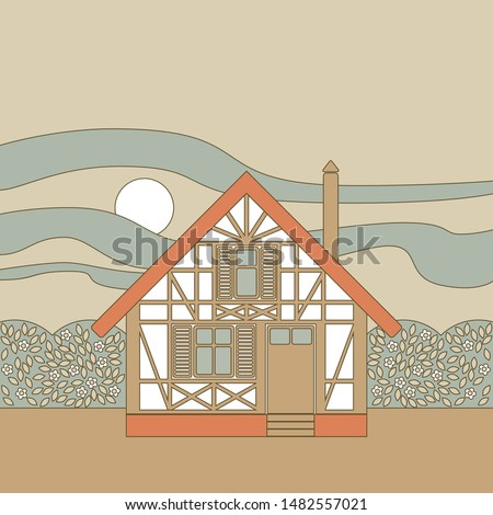Vector image of a framework half-timbered house with flowering bushes around, against the sunset sky, with a contour in the art Nouveau style in a light gray-beige color scheme