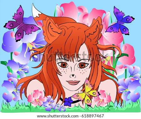 vector image of a girl a fox