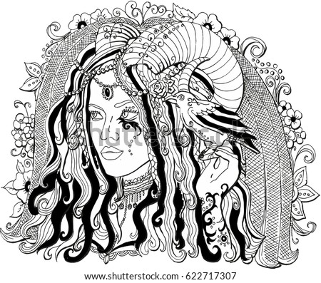 vector image of a girl demon
