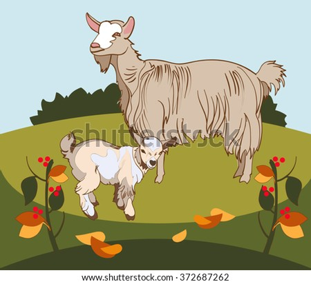 Vector image of a goat and her kid grazing in the meadow