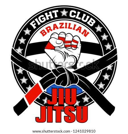 Vector image of a hand of the fighter of the Brazilian jiu-jitsu. Inscription - Brazilian Jiu-Jitsu. Fight club. Warrior's fist. Illustrations for t shirt print. Cool grunge print. Vector.