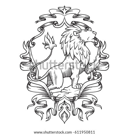 Vector image of a heraldic shield with curls, ribbons and leaves and with a heraldic lion looking to the right in the center on a white background. Coat of arms, heraldry, emblem, symbol. Line art.