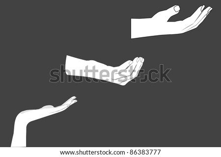 Vector image of a human hand holding something, or asking for something, isolated, white background