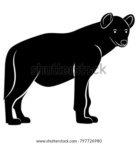 Vector image of a hyena silhouette on a white background