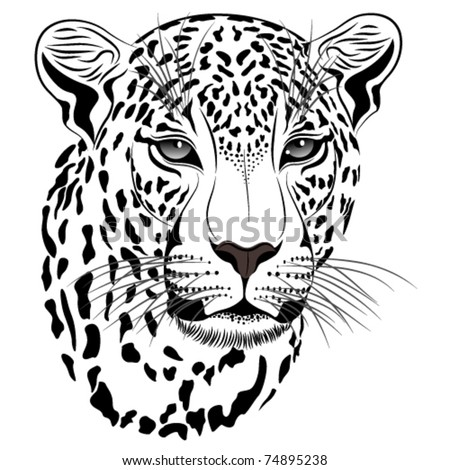 Vector image of a leopard executed in the form of a tattoo