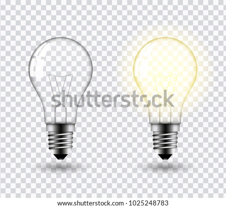 Vector image of a light bulb. Realistic 3d object on a transparent background. The effect of light. The symbol of creativity and ideas.