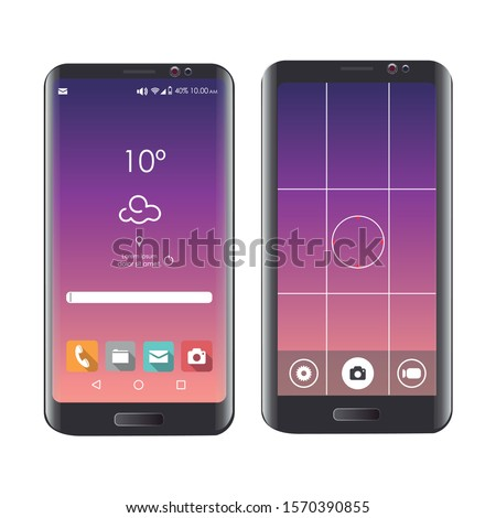 Vector image of a mobile. Design of a mobile with camera mode. Editable vector.