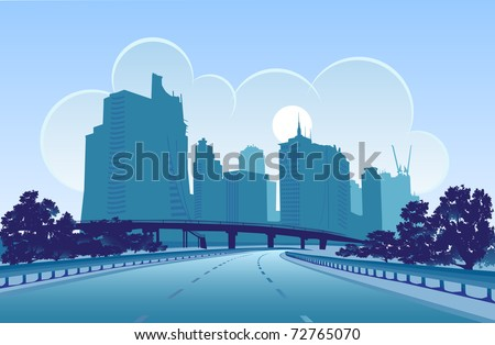 vector image of a modern city