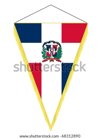 vector image of a pennant with the national flag of Dominican Republic