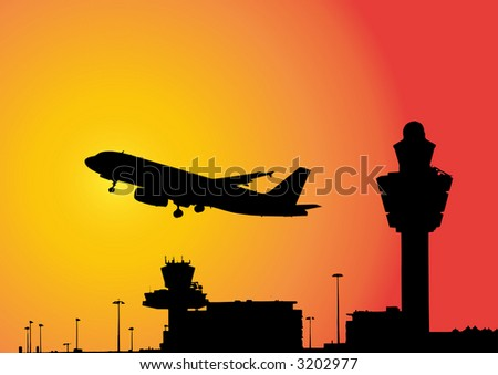 vector image of a plane flying above airport