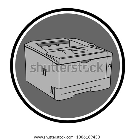 Vector image of a printer on a gray background. Printer icon. Office equipment. Apparatus for printing on paper