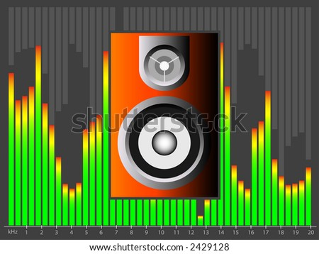 Vector image of a retro colored speaker against a colorful equalizer background. - stock vector