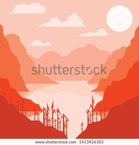 vector image of a river and a