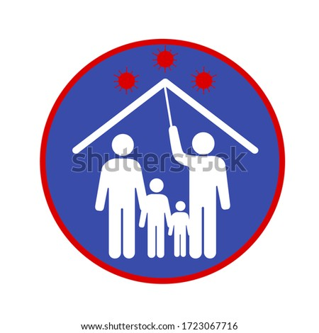 Vector image of a self-isolation symbol. Family icon protected against dangerous disease COVID-19. Illustration of preventive measures in favor of the health of man, woman and child.  Stock photo ©
