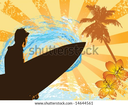 Vector image of a surfer on a grungy background with flowers and a palm tree