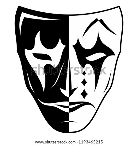 Stock Photo Vector image of a theatrical mask. Two parties - black and white, the good and evil. Sad and cheerful. The drawing for design. Black tattoo. Vector illustration.