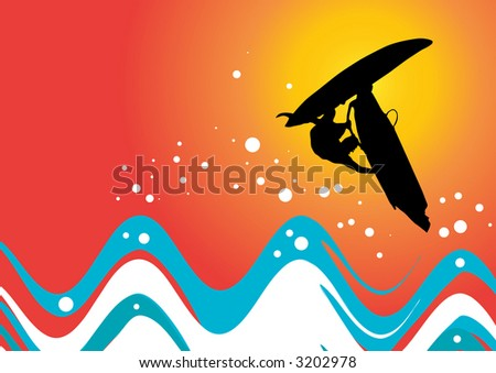 vector image of a windsurfer in action