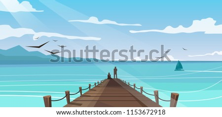 vector image of a wooden pier