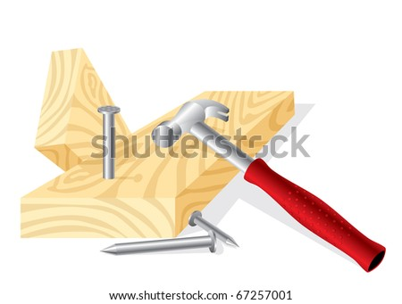 vector image of a working hammer, nails and boards