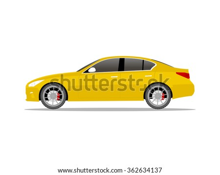 vector image of a yellow car