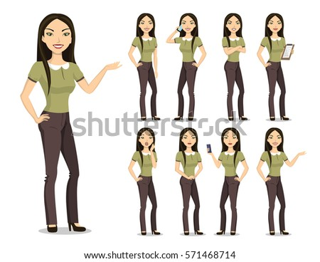 vector image of a young woman