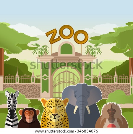 vector image of a zoo gate with