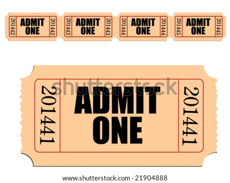 Vector image of Admit One ticket