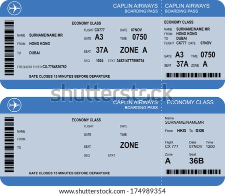 Vector Image Of Airline Boarding Pass Tickets With Barcode  Airline Ticket Template Free
