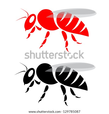 vector image of an bee on white