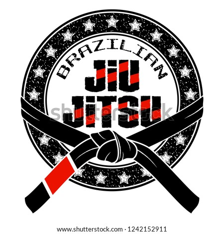 Vector image of an emblem of the Brazilian ju-jitsu. Black belt. Grandmaster. Inscription - Brazilian Jiu-Jitsu. Illustrations for t shirt print. Cool grunge print. Vector color illustration.
