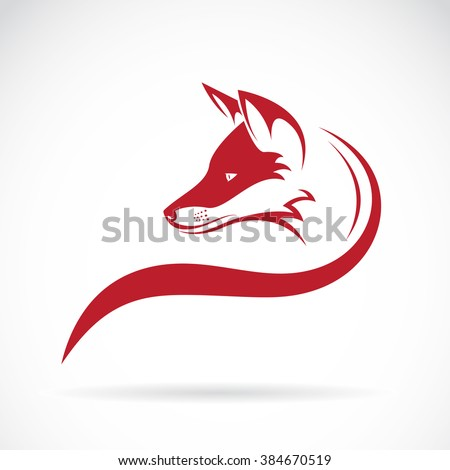 Vector image of an fox head on white background, Wild Animals, Vector illustration.