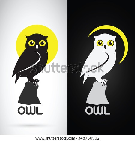 Stock Photo Vector image of an owl design on white background and black background, Logo, Symbol,Animals