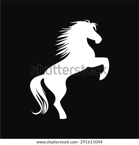 vector image of an white horse