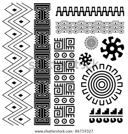 Mayan Border Designs http://www.shutterstock.com/pic-86719327/stock-vector-vector-image-of-ancient-american-pattern-on-white.html