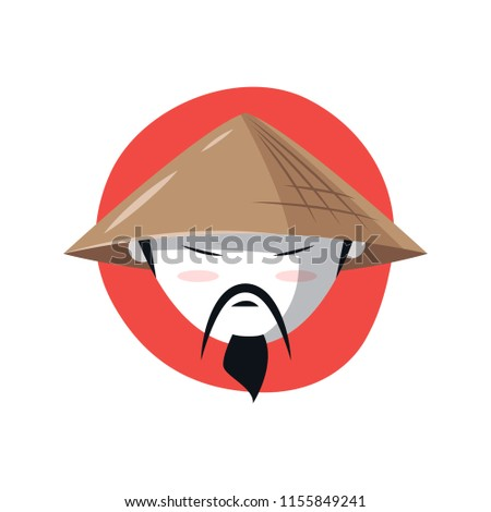 Vector image of Asian face with a mustache and beard in a traditional Conical hat