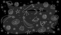 Vector image of Astronomy Doodle for logotype, t-shirt, banner, magazine, poster, decoration, postcard. Astronomy Doodle background. Astronomy Doodle illustration. EPS 10.