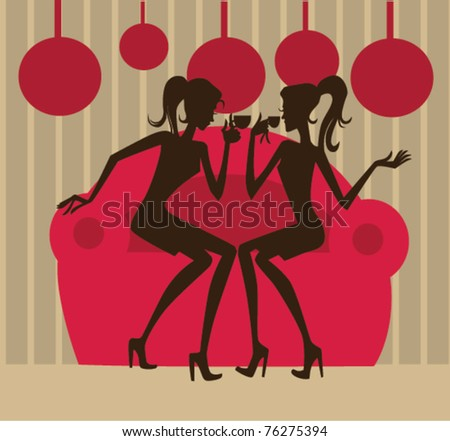 vector image of beautiful girls sitting on the sofa