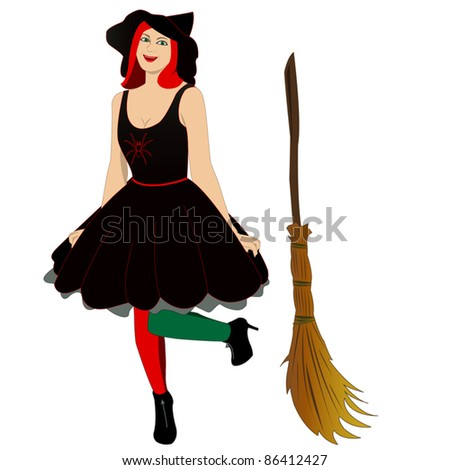 Vector image of beautiful sexy witch with broom