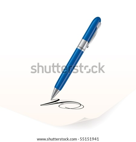 vector image of blue pen