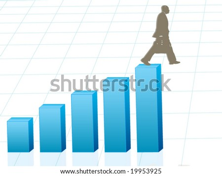 Vector image of business man walking off edge - concept for banking crisis, unexpected losses, walking off a financial cliff