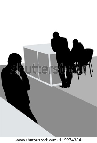 Vector image of businessmen in a large office