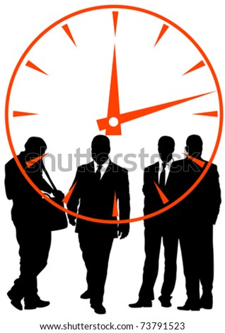 Vector image of businessmen in background of clock