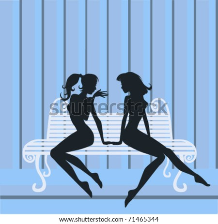 vector image of chatting girls
