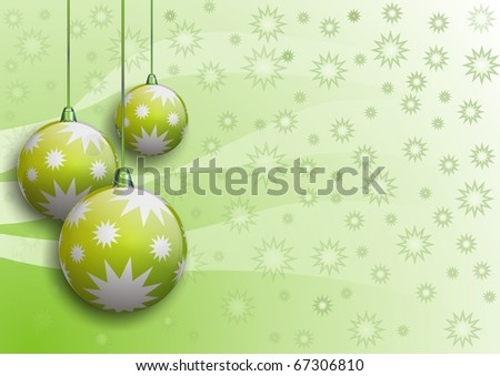 vector image of christmas balls with stars on green-white background